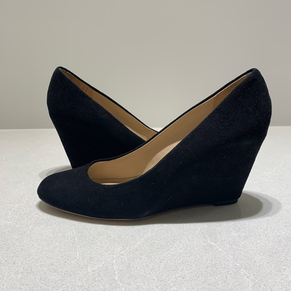 elegant shoes many styles good quality VIA SPIGA Black Suede Wedge Heel, Size US 9